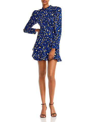 Sophie Animal-Print Mini Dress in Blue Leopard