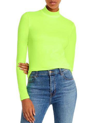 Mock-Neck Top in Neon Yellow
