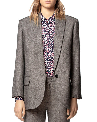 Vow Herringbone Blazer in Silver