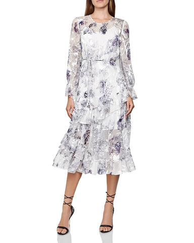 Annabell Silk Blend Floral Dress in Blue White