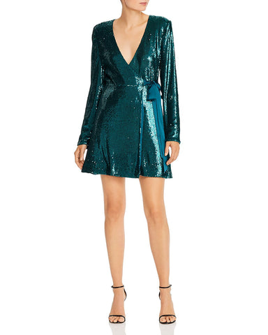 Sequined Wrap Dress in Emerald