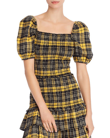Puff-Sleeve Plaid Smocked Top in Yellow/Black