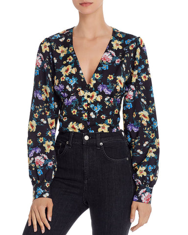 Empire-Waist Floral Cropped Top in Floral Multi
