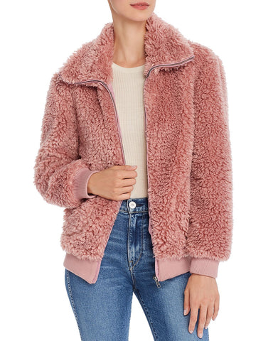 Teddy Or Not Faux-Fur Jacket in Rose Taupe