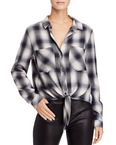 Plaid Tie-Front Shirt in Lake View