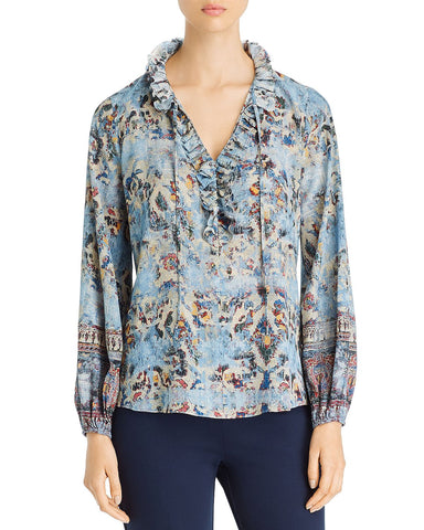 Molly Ruffle-Trimmed Printed Blouse in Light Blue Multi