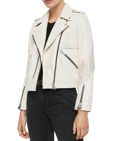 X Fringe-Trim Leather Biker Jacket in Aries White