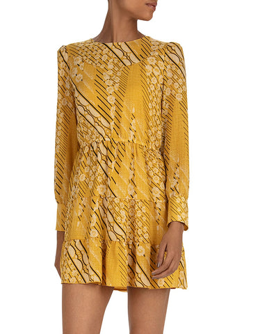 Ophe Tiered Dress in Moutarde Yellow