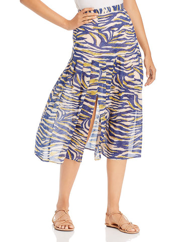 Into the Wilds Pleated Midi Skirt in Blue Multi