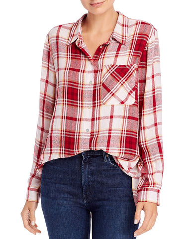 Long-Sleeve Plaid Button-Down Shirt in Red/Ivory Plaid