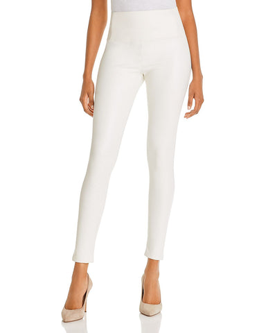 High-Rise Faux Leather Leggings in Cream