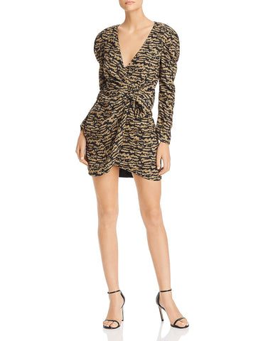 Tracey Bow Detail Puff-Sleeve Dress in Animal