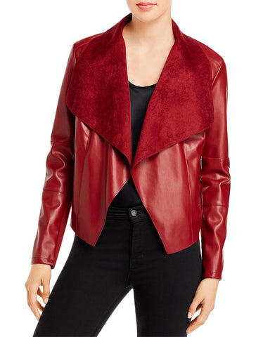 Draped Faux Leather Jacket in Ruby Red