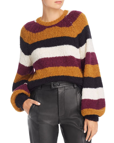Izzie Striped Sweater in Caviar