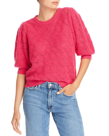 Jenise Wool-Blend Pointelle Sweater in Fuchsia