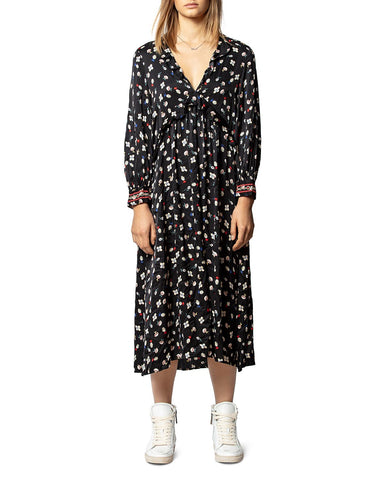 Reacty Ruffled Floral Midi Dress in Noir