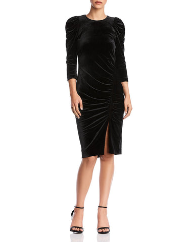 Lily Puff-Sleeve Velvet Dress in Black
