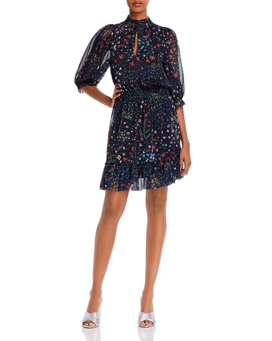 Shima Floral-Print Ruffled Dress in Blue
