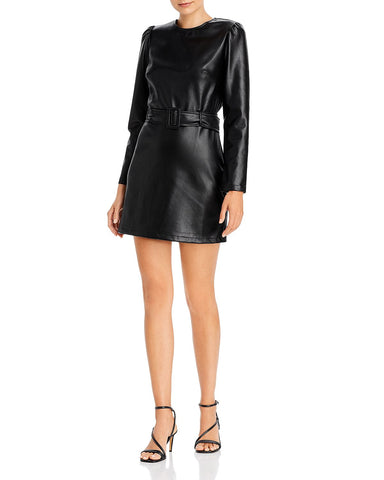 Belted Faux Leather Dress in Black