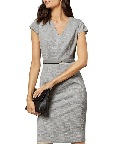 Michaud Belted Sheath Dress in Light Gray