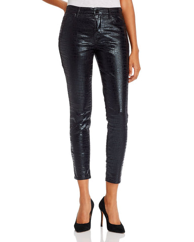 Le High Coated Skinny Jeans in Noir Croc