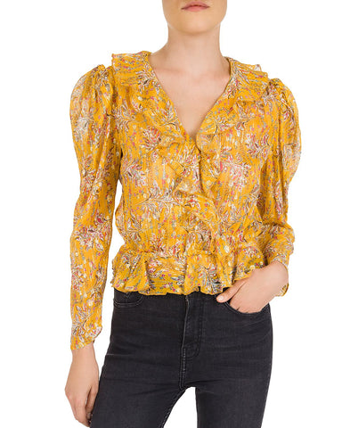 Feuille D'or Ruffled Floral Silk-Blend Top in Multi Color