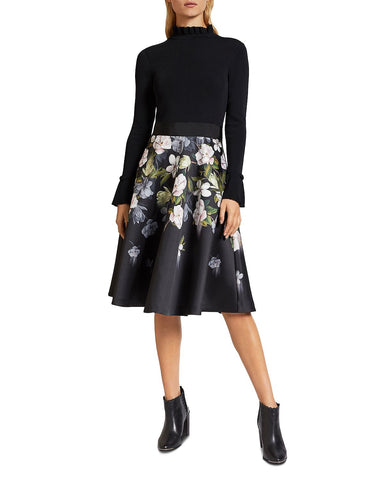 Nerida Floral-Print Knit and Satin Dress in Black