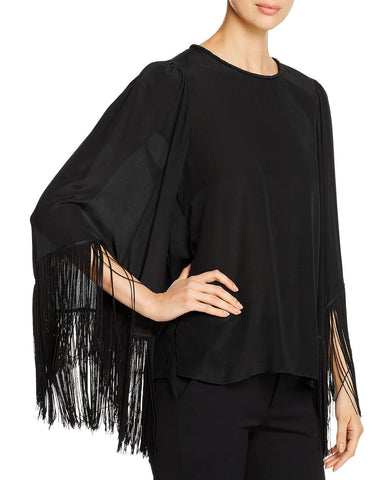 Fringed Silk Blouse in Black