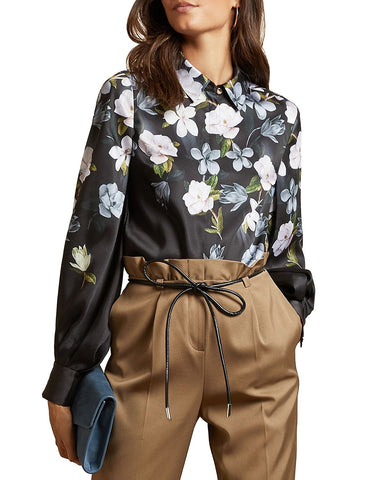 Priyya Opal Floral Print Blouse in Black
