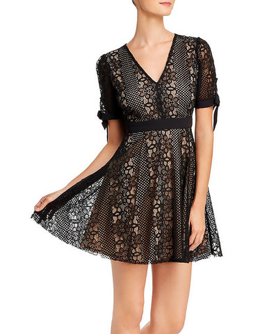 Bow-Cuff Lace Dress in Black/Nude