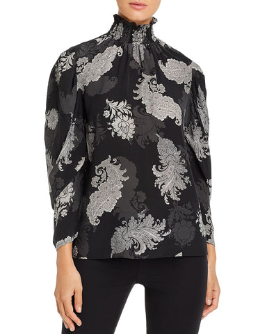 Arielle Paisley Silk Blouse in Pumice Multi