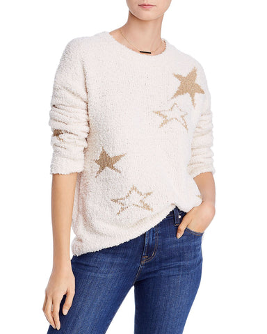 Star Textured Sweater in Ivory