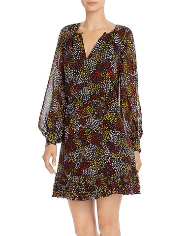 Donetta Printed Silk Dress in Midnight
