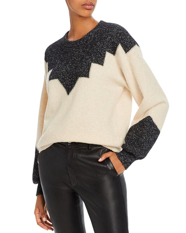 Zinca Color-Blocked Wool-Blend Sweater in Winter White