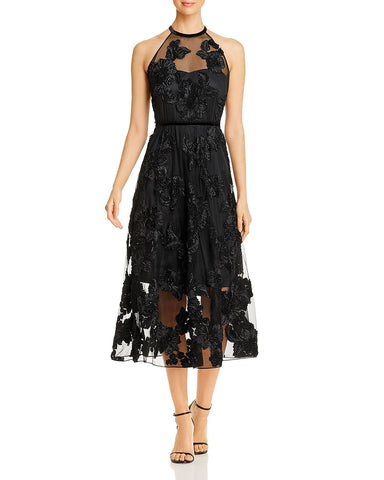 Myranda Floral Applique Dress in Black