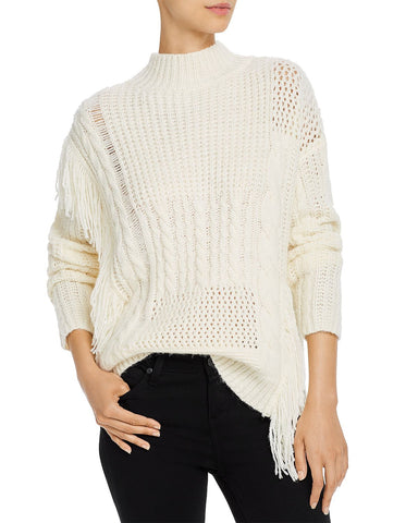 Thea Fringe-Trim Sweater in Ivory