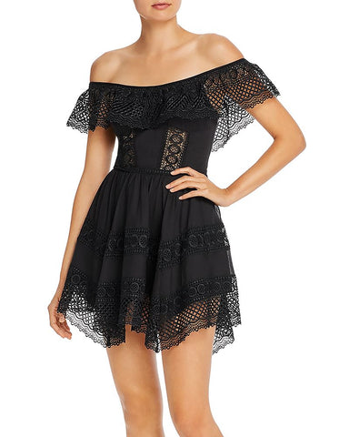 Vaiana Off-the-Shoulder Crochet Detail Dress in Black