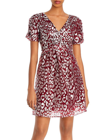 Metallic Leopard-Pattern Dress in Dark Red