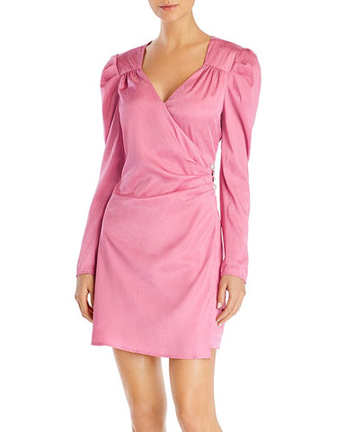 Quinn Puff-Sleeve Faux-Wrap Dress in Pink Jaquard