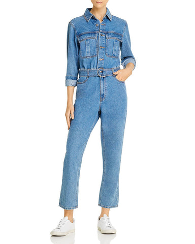 Belted Denim Boilersuit in Denim Wash