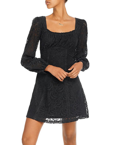 Lace Empire-Waist Dress in Black