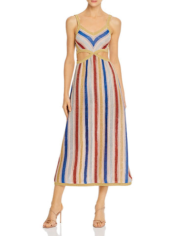 Mila Striped Cutout Midi Dress in Metallic Multi