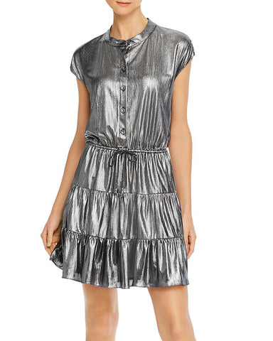 Ollie Tiered Metallic Mini Dress in Gunmetal