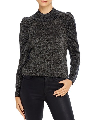 Artima Metallic Puff-Sleeve Sweater in Midnight