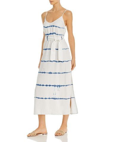Tie-Dye-Stripe Midi Dress in Indigo/White Out