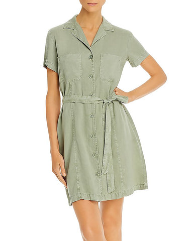 Safari Shirt Dress in Olive Grove
