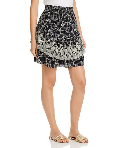 Braylee Embroidered Botanical Skirt in Caviar