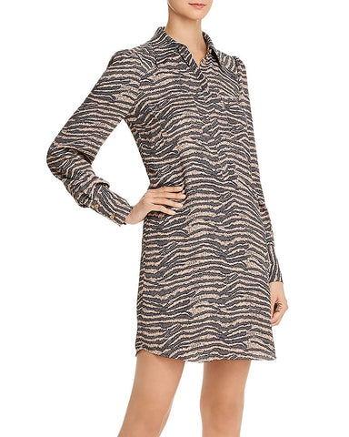 Talma Zebra Print Shirt Dress in Ginger