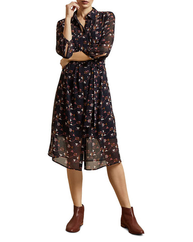 Ronniy Printed Shirt Dress in Navy