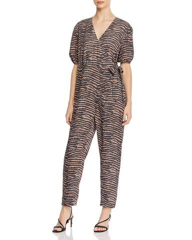 Prisha Printed Wrap-Front Jumpsuit in Ginger